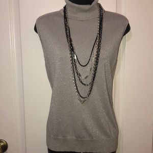 Cable and Gauge silver metallic turtleneck
